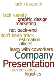 Company Presentation lack research lack variety graphic design marketing not back-end don't keep track estimation offices learn with coworkers deliverables logistics