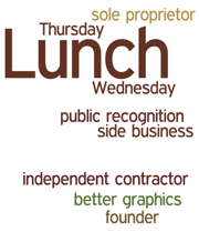 sole proprietor Thursday Wednesday public recognition independent contractor better graphics founder