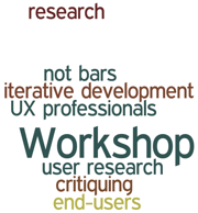 Workshop research not bars iterative development UX professionals user research critiquing end-users